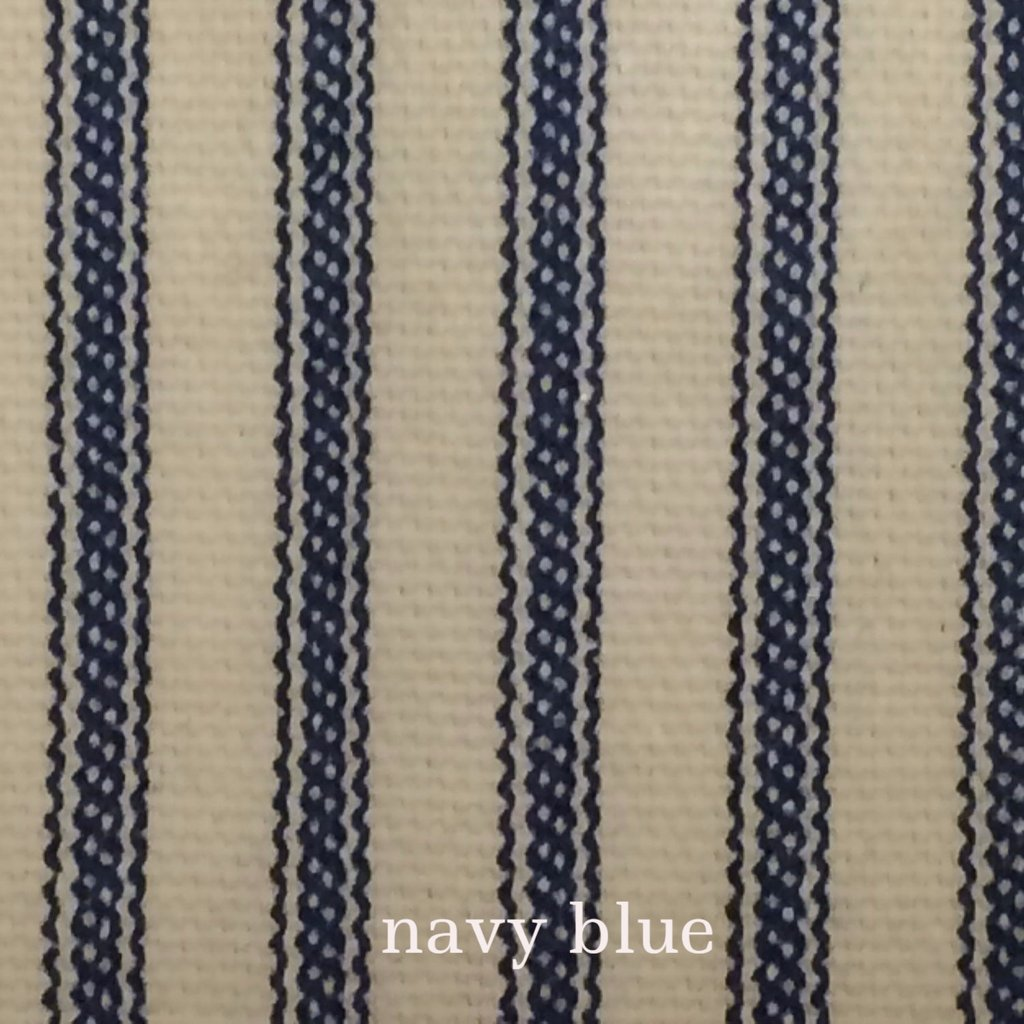 navy blue ticking stripe fabric