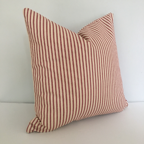 Red Ticking Stripe Knife Edge Throw Pillow Cover 18x18