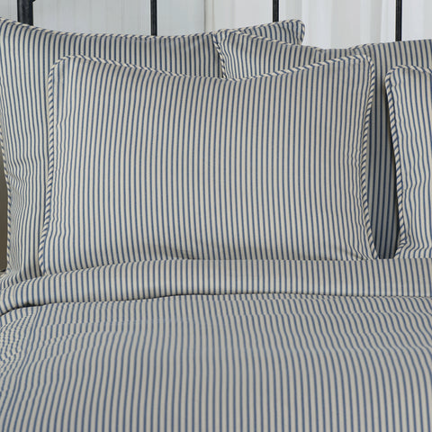 Ticking Stripe Pillow Sham Navy Blue Standard Euro King