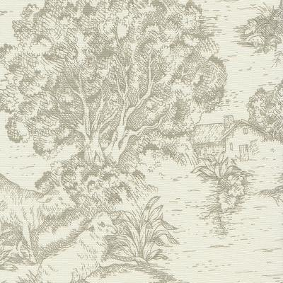 Soft Spa Green Toile De Jouy Fabric By The Yard
