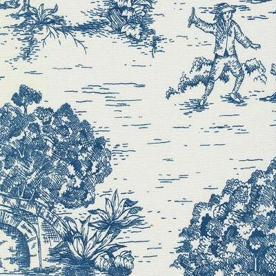 Blue Toile De Jouy Fabric By The Yard