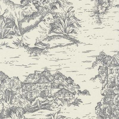 Gray Toile De Jouy Fabric By The Yard