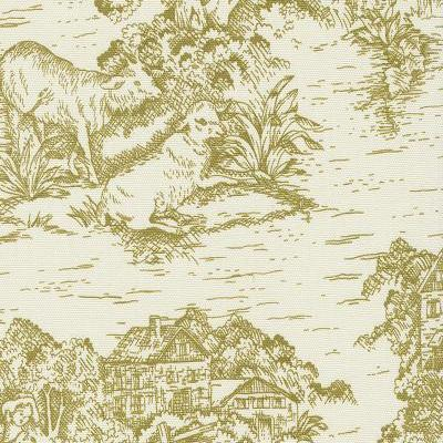 Pear Green Chartreuse Toile De Jouy Fabric By The Yard