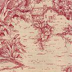 Red Toile De Jouy Fabric By The Yard