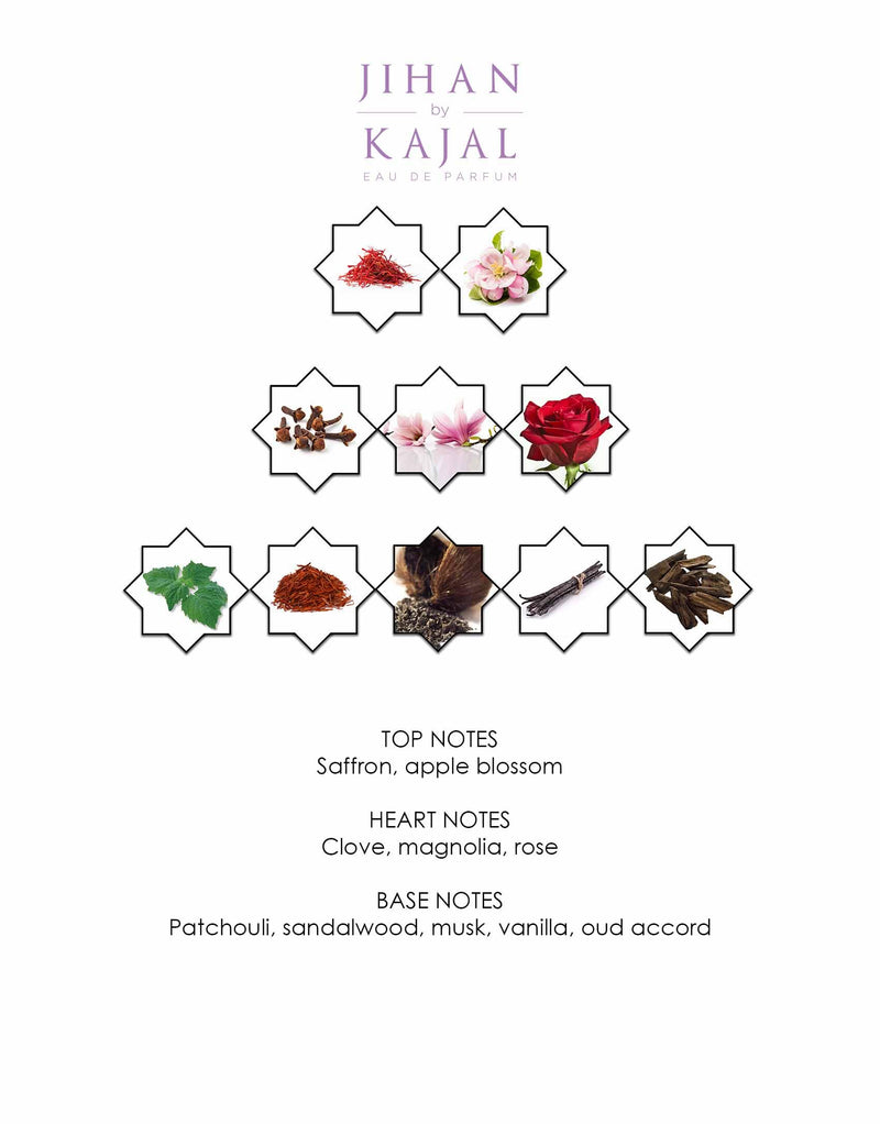 Notes of Jihan by Kajal EDP 100ml.  A new niche fragrance part of the Warde Collection.