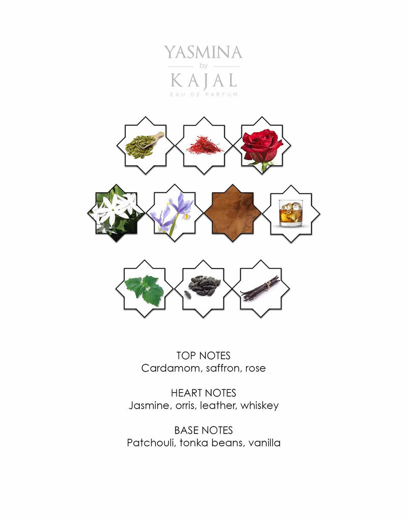 Notes of Yasmina by Kajal EDP 100ml.  A new niche fragrance part of the Warde Collection.