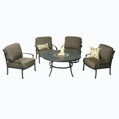 SUMMERSET ARIANA 7PC CLUB CHAIRS AND FIRE PIT