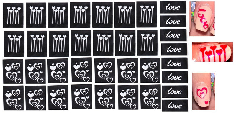44 Nail Stencils  - Moustache and Glasses