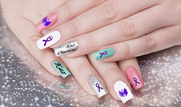 Alzheimer's  Awareness Nail Art