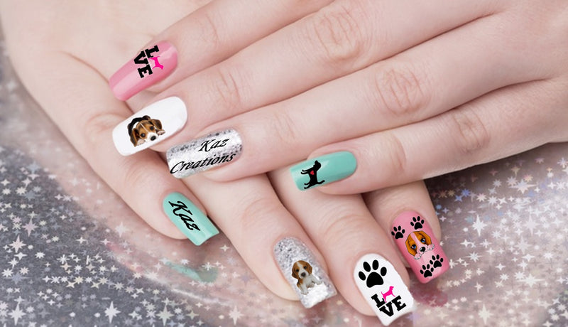 Beagle Dog  Nail Art Decals