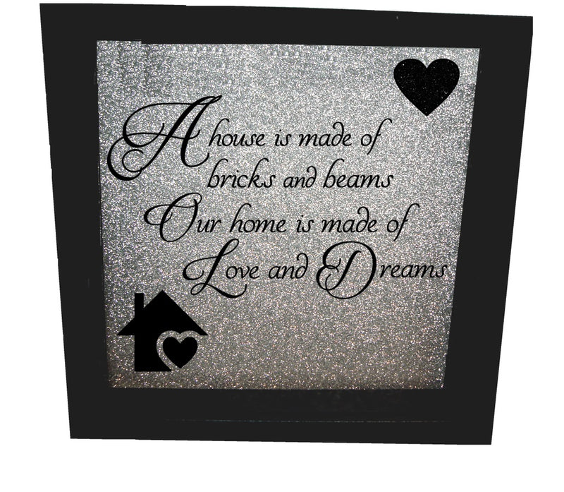 Home Is Made Of Love ( Silver backround , Black text )
