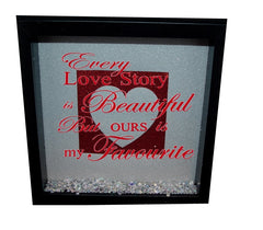 Every love story is beautiful ( Silver backround, Black inner square, Silver heart, Red text )