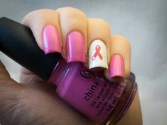 Breast Cancer Awareness Nail Art c1