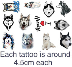 Husky Dog Temporary Tattoos