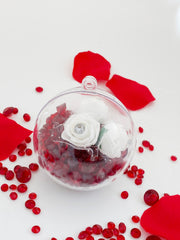 White Diamante  Rose with Crystals in a Bauble  ( Choose your own colours of Crystal )