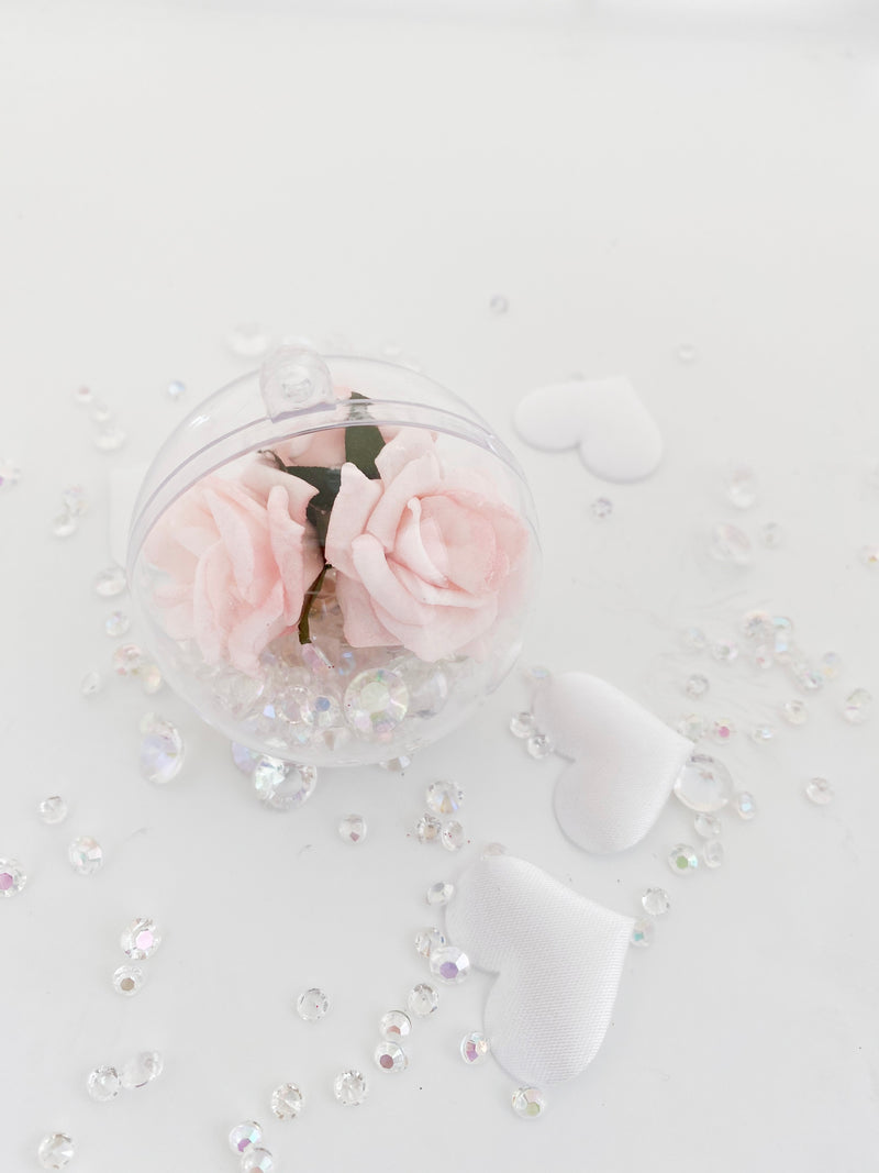 Soft Pink  Rose with Crystals in a Bauble  ( Choose your own colours of Crystal )