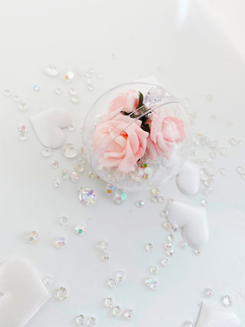 Pink Rose Filled in a Bauble with Crystals  ( Choose your own colours of Crystal )