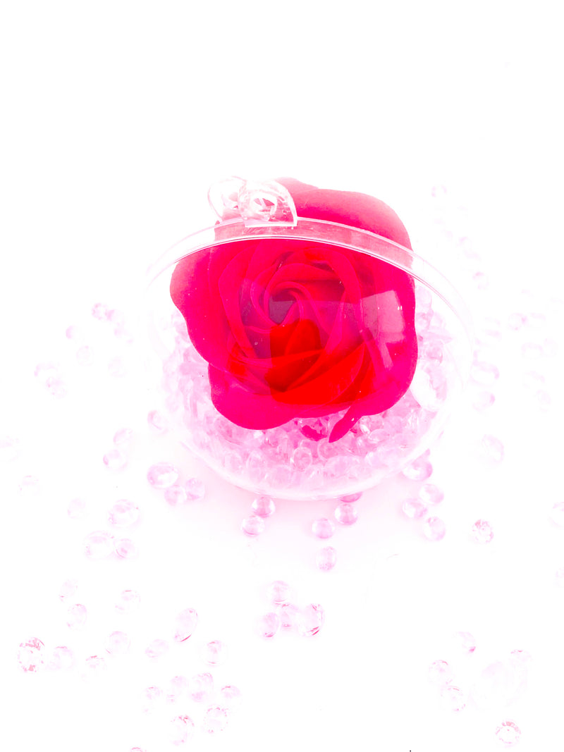 Single Red Rose Filled in a Bauble with Crystals ( Choose your own colours of Crystal )
