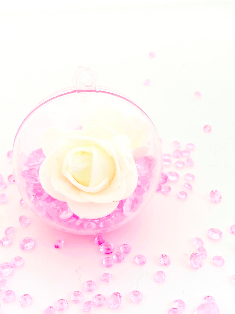 Cream  Rose with Crystals in a Bauble  ( Choose your own colours of Crystal )