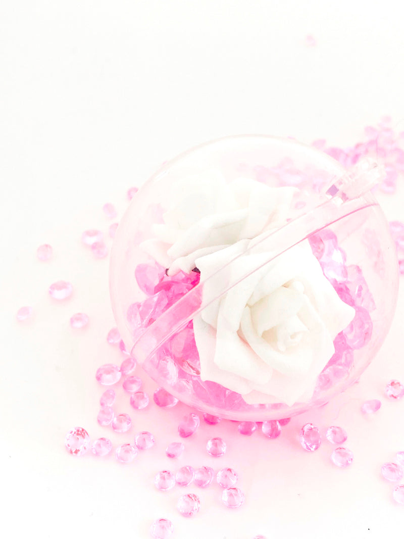 White Rose with Crystals in a Bauble  ( Choose your own colours of Crystal )