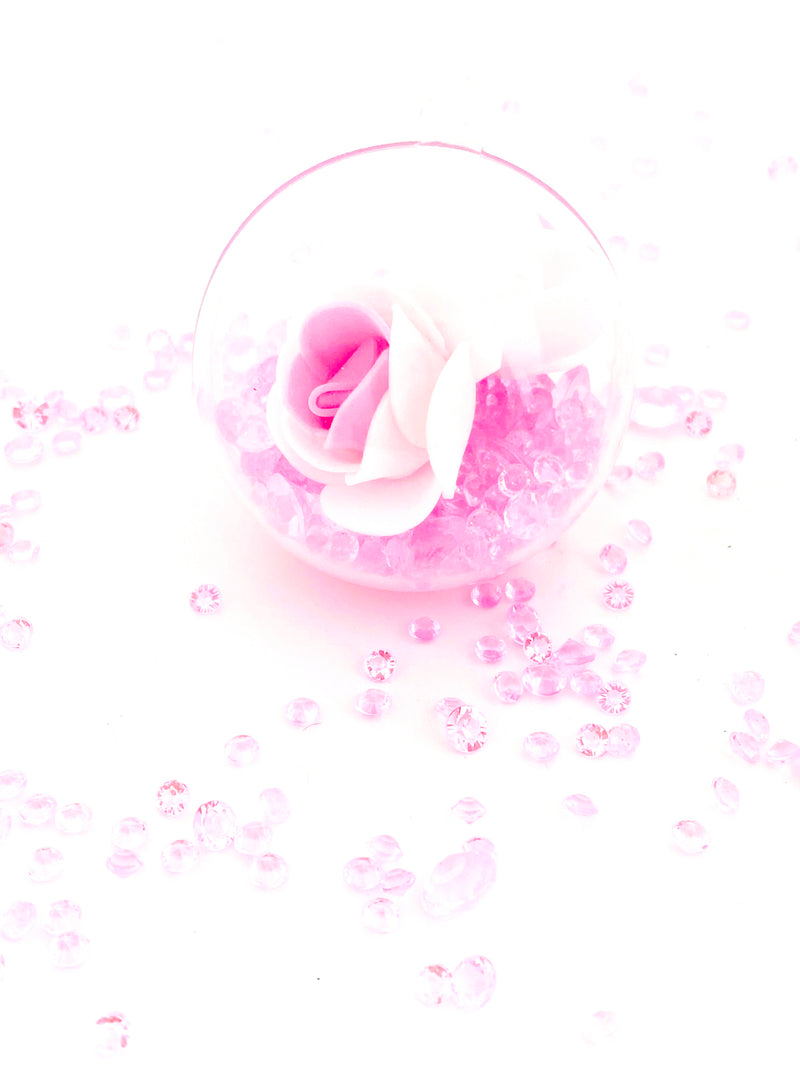 White Pink  Rose with Crystals in a Bauble  ( Choose your own colours of Crystal )