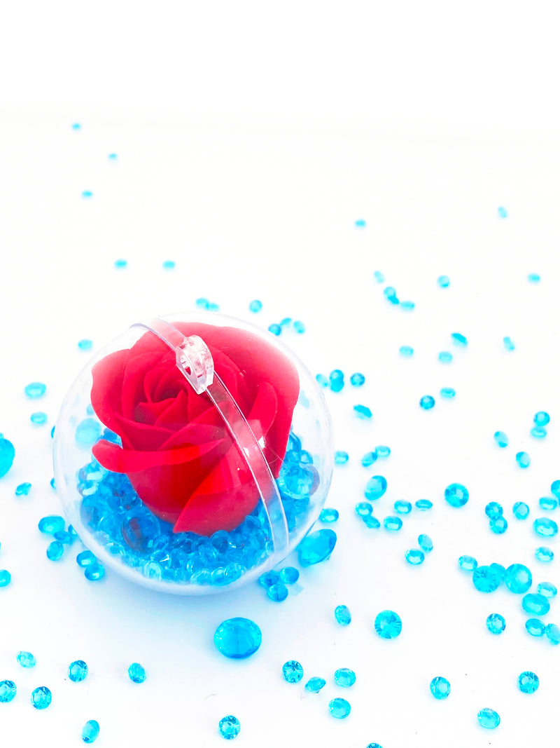 Single  Rose with Crystals in a Bauble  ( Choose your own colours of Crystal )