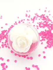 2 White Roses Filled in a Bauble with Crystals ( Choose your own colours of Crystal )