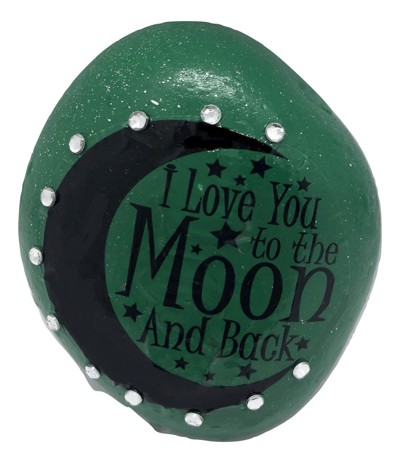 Love you to the moon and back Decorative Stone ( Several Colours to choose from )