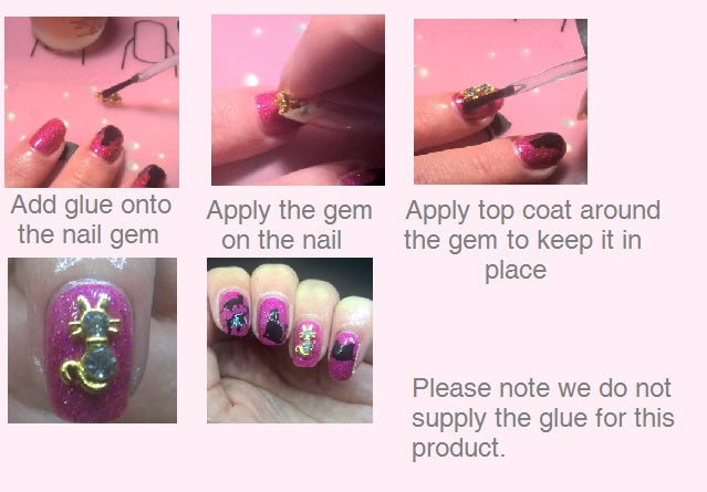 Snake  Nail Gems  ( Pack of 10 ) Collection 1