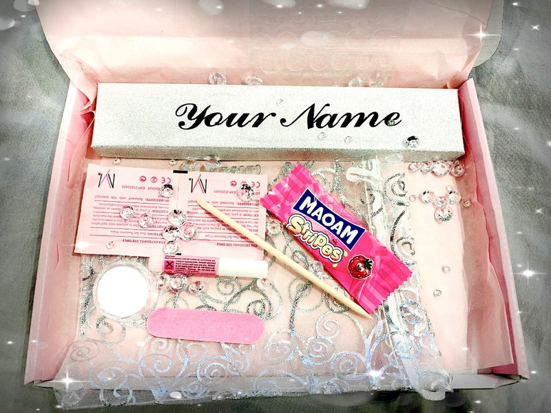 Pink Gloss  Personalised boxed 20  Acrylic Coffin Ballerina press on nails With Pearls  and Bow