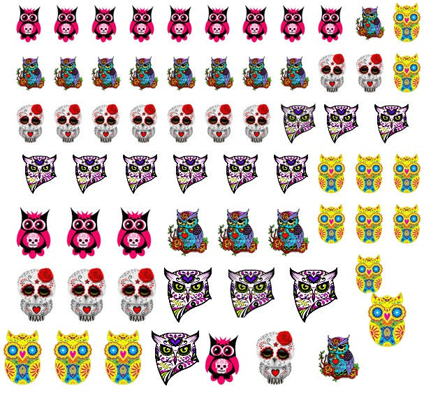 Sugar Skull  Day of the Dead  Owl Nail Art
