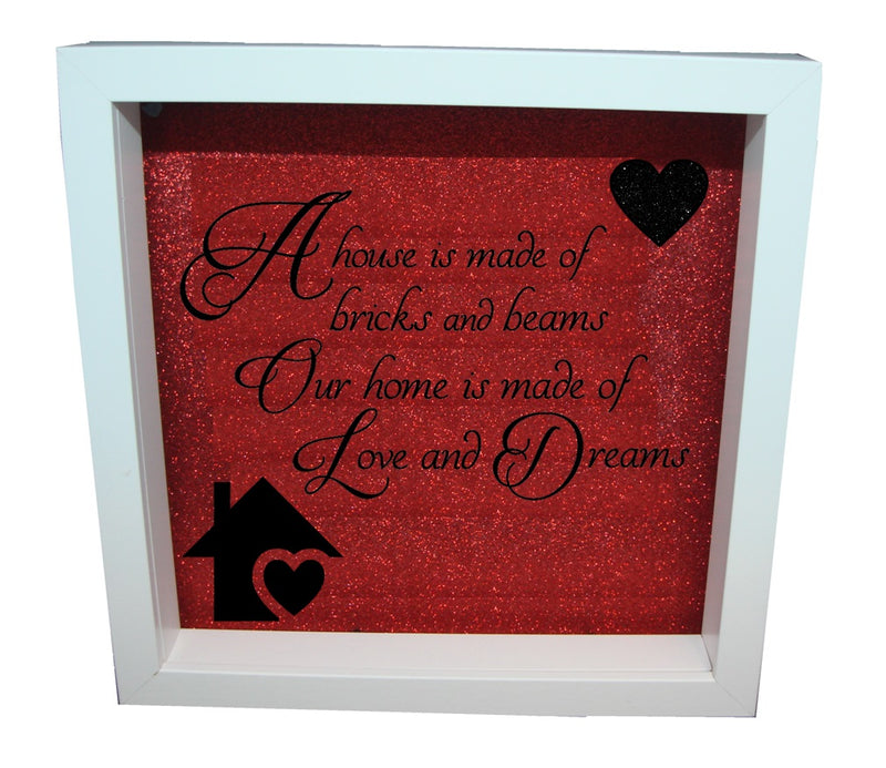 Home Is Made Of Love ( Red backround , Black text )