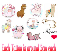 Alpaca Temporary Tattoos