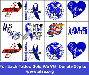 ALS ( Amyotrophic Lateral Sclerosis )  Awareness Temporary Tattoos