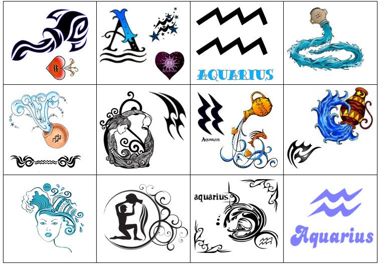 Aquarius Temporary Tattoos