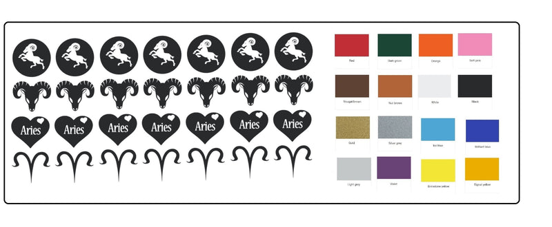 Aries Zodiac  Vinyl Stickers ( Multiple colours to choose from )