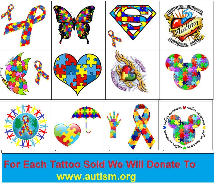 Autism Awareness Temporary Tattoos