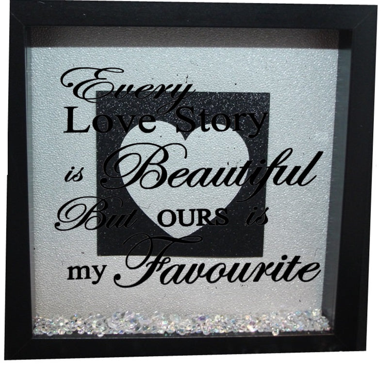 Every love story is beautiful ( Silver backround , Black inner square, Silver heart, Silver text )