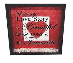 Every love story is beautiful ( Red backround, Silver inner square, Red heart, Black text )