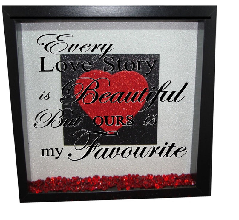 Every love story is beautiful ( Silver backround, Black inner square, Red heart, Black text )