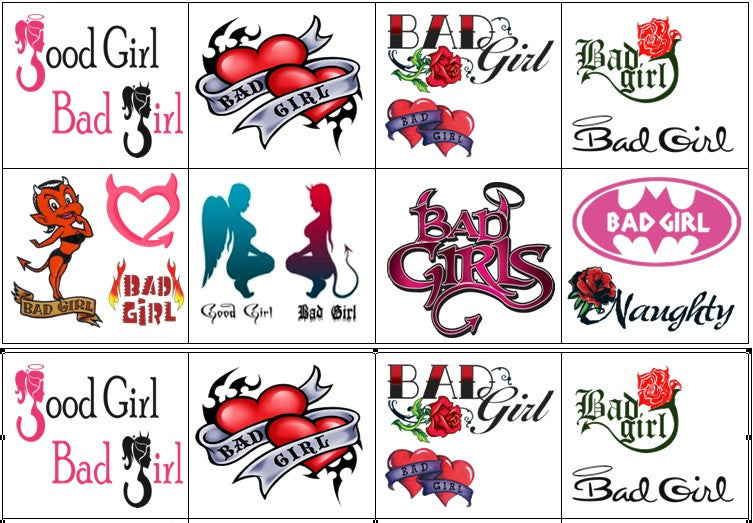Bad Girl Temporary Tattoos