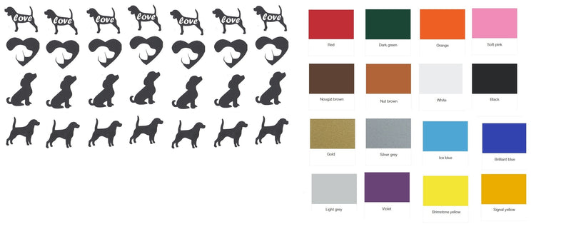 Beagle Dog  Vinyl Stickers ( Multiple colours to choose from )