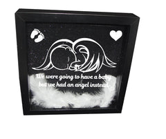 We Were Gonna Have a Baby, But We Had an Angel Instead ( Black  Frame, White Angel )