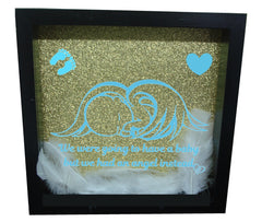 We Were Gonna Have a Baby, But We Had an Angel Instead ( Black Frame, Gold backround, Blue Angel )