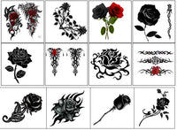 Black Rose Temporary Tattoos