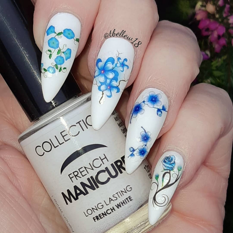 Blue Chinese  Flowers Nail Art