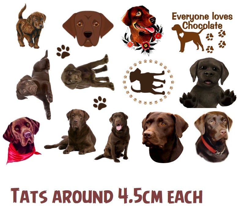 Chocolate Retriever Dog Temporary Tattoos