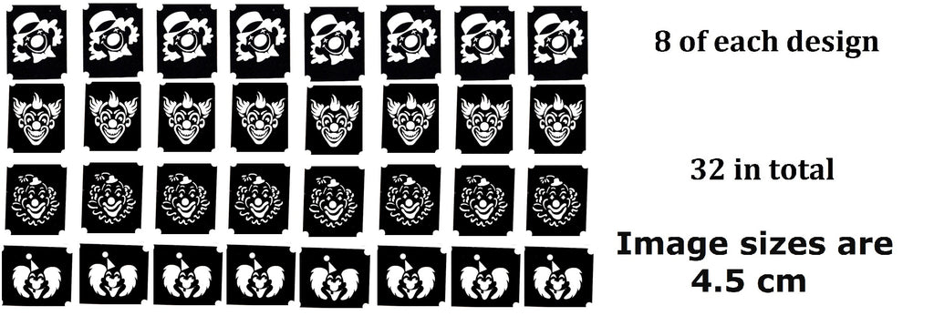 Clown Tattoo Stencils pack of 32