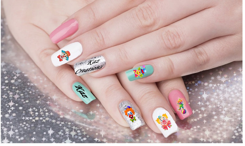 Cute Clown Collection Nail Art Decals