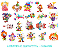 Clown Cute  Temporary Tattoos